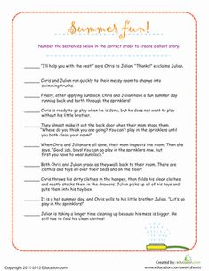 Story sequencing will allow third graders to improve their reading comprehension by putting the sequence of events in the correct order. Story Sequencing Worksheets, Reading Comprehension Worksheets, Sequencing Activities, Grammar Worksheets, Fun Activities, Free Printable Worksheets, Worksheets For Kids, Kindergarten Worksheets, Free Printables