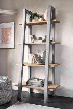 Buy Malvern Ladder Shelf from the Next UK online shop Grey Malvern Ladder Shelf Ladder Shelf Decor, Ladder Desk, Ladder Shelves, Bathroom Ladder Shelf, Grey Shelves, Bookcase Shelves, Corner Shelves, Home Decor Ideas, Industrial Furniture