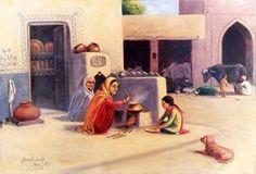 Chulle kol beh k roti kani. Indian Artwork, Indian Art Paintings, Paintings I Love, Art Village, Indian Village, Art Images, Art Pictures, Punjab Culture, Rajasthani Painting