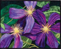 Up close picture of The Clematis Quilt by Melinda Bula Art Floral, Floral Theme, Purple Clematis, Landscape Art Quilts, International Quilt Festival, Free Motion Quilting, Art Quilting, Quilt Art, Quilting Ideas
