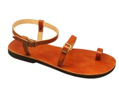 Genuine Leather Sandals Toe Ring Barefoot with Ankle por Calpas