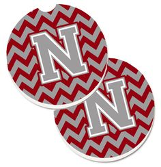 Letter N Chevron Crimson and Grey Set of 2 Cup Holder Car Coasters CJ1043-NCARC