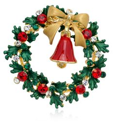Christmas Wreath and Bell Brooch Pin with Swarovski Element Crystals - C0126NQGTUL - Brooches & Pins  #jewellrix #Brooches #Pins #jewelry #fashionstyle