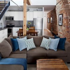 Industrial Bedrooms color palette:  brick, blues and greys with natural wood my apartment