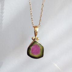 Rainbows and Tourmaline Rose Gold Pendant, Watermelon Tourmaline, Rainbows, Handmade Jewelry, Pendants, Pendant Necklace, Trailers, Rainbow, Pendant