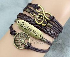 Lucky tree &Believe-Music breaks Charm Bracelet  - Wax cords, Leather Braid - Customize Bracelet -Friendship Gift - bridesmaid gift B221, $6.99