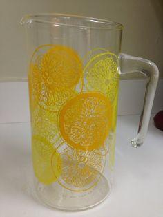 Vintage Pyrex Orange Lemon Pitcher by thetrendykitchen on Etsy