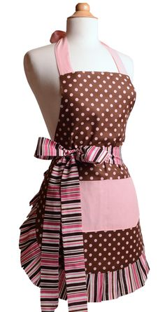 Pink Chocolate Women's Flirty Apron Front from Flirty Aprons