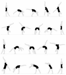 """The first 2 rows are """"How to do a Front Walkover"""" and the last 2 rows are """"How to do a Back Walkover""""!"""