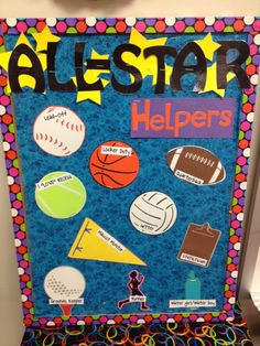 This would be one way to set up your classroom helpers in the sports classroom! Classroom Job Chart, Classroom Helpers, Classroom Jobs, Classroom Organization, Classroom Environment, Classroom Management, Sports Theme Classroom, Stars Classroom, Classroom Decor Themes