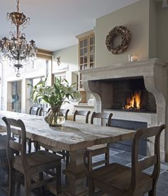 Kitchens with fireplaces...love the look of the upper pine cabinet...how do you get that color and finish?
