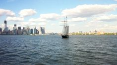 New York and Brooklyn Skyline with Sail boat New York Skyline, Barn Plans, Garage Plans, Utility Boat, Cabin Cruiser, Outdoor Sheds, Small Boats, Horse Barns