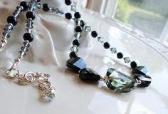 Black Diamond and Jet Swarovski Crystal Statement Necklace, Black and Gray…