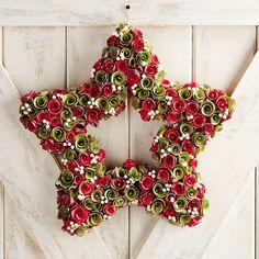 "Wood Curl Christmas Star 19"" Wreath"