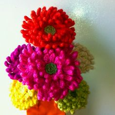 "Crochet 10"" zinnia blooms. My own design. No pattern. @ Afshan Shahid"