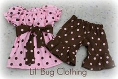 Custom Boutique Clothing Cocoa Pink Dots by LilBugsClothing, $34.50