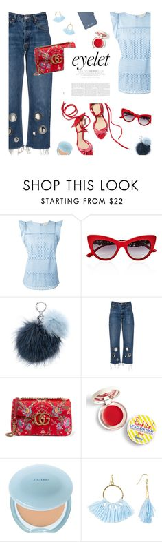 """""""Eyelet top"""" by magdafunk ❤ liked on Polyvore featuring MICHAEL Michael Kors, Dolce&Gabbana, Gucci, Supergoop!, Shiseido, Taolei, denim, RedShoes, eyelet and floralbag"""