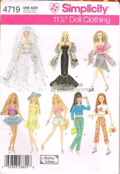"""4719 Sewing Pattern Barbie 11 1/2"""" Fashion Doll Clothes Thank you for coming in! Please look around my store while you are here as I have many more sewing and crafting patterns available! ************"""