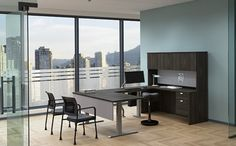 The private office, with the glass mounted modesty panel creates a more light and open look.  Keeping it modern, but maintaining the workspace you need.  Contact Margie@inspireyourspace.ca for more information Office Furniture, Furniture Design, Executive Office, Your Space, Glass, Modern, Table, Inspiration, Home Decor