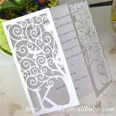 Elegant Laser Cut Wedding Invitations White, White Wedding Invitations With Organza Ribbons Free