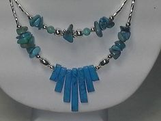 Native American Navajo Plated Silver Turquoise and Turquoise Howlite Necklace