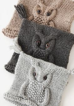 Knitted owl hat pattern for the triplets