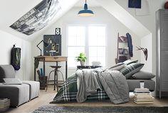 Xander Plaid Deluxe Comforter Set w/ Comforter, Sheet Set, Pillowcase, Mattress Pad, Pillow Inserts + Blanket Bedroom Loft, Teen Bedroom, Bedroom Ideas, Boy Bedrooms, Loft Conversion Bedroom, Stylish Beds, Attic Rooms, Attic Loft, Man Room