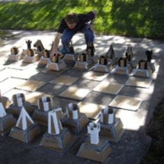 Giant Chess Board from Cardboard