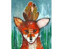 Original fox painting whimsical mixed media abstract art