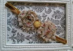 Gold glitter cream floral double shabby flower headband with glitter button. Baby, girl, teen headband.