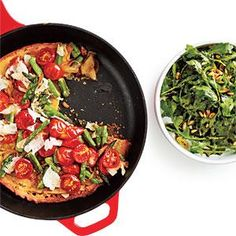 Asparagus, Tomato, and Onion Farinata  Italian flavors abound in this vegetarian one-dish meal of Asparagus, Tomato, and Onion Farinata. Farinata is a thin cake made with chickpea flour. The chickpea flour makes this crispy crust high in fiber and gluten-free.
