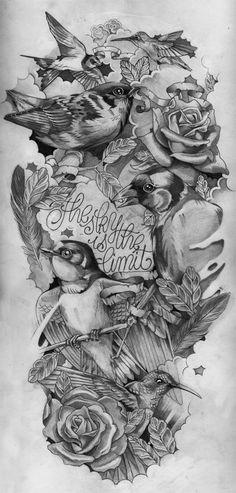 Serie de ilustraciones que giran en torno a las calaveras y los gorriones.