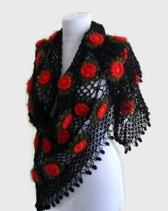 crochet shawl crochet flower shawl turkish scarf by likeknitting