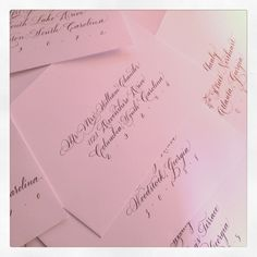 pale pink calligraphy envelopes by Studio French Blue