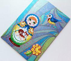 Matryoshka Metallic Doll ACEO  Babushka Nesting by MangaSketch, $5.00