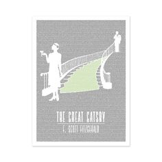 Awesome literary poster! (Color choice = brown!!) The Great Gatsby | Book Poster | Litographs