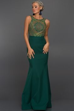 Uzun Zümrüt Yeşili Dekoltesiz Taşlı Elbise C7262 | Abiyefon.com