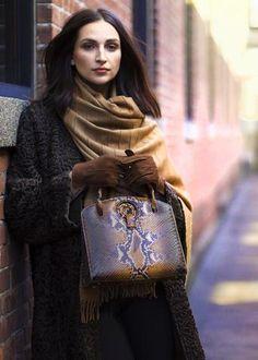 Women's Annette Top Handle Tote Bag, in Cognac Python by Darby Scott Blue Mermaid Dress, Ostrich Legs, Tigers Eye Gemstone, Leather Pieces, Metallic Leather, Python, Calf Leather, Louis Vuitton Monogram, Gemstones