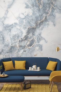 Veins and clouds and dimension, oh my!  Get the look: Murals Wallpaper ($29.17 per square meter)