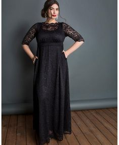 Plus Size Long Sleeve Black Maxi Dress. Designed from a soft scalloped black stretch lace, this comfortable pull-over black maxi features length sleeves, an illusion boat neck neckline and an A-line silhouette. Made exclusively in women's plus sizes. Plus Size Evening Gown, Evening Gowns, Plus Size Formal Dresses, Plus Size Outfits, Formal Gowns, Maxi Dress With Sleeves, Short Sleeve Dresses, Lace Dresses, Long Sleeve