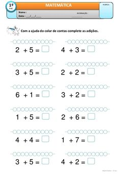 atividades de adição para 1o ano fundamental Kids Math Worksheets, 1st Grade Worksheets, Number Sense Activities, Math Activities, Preschool Writing, Kindergarten Math, Math Addition, Simple Math, First Grade Math