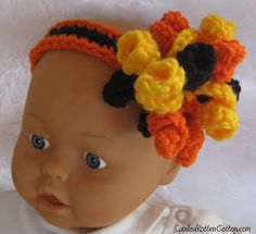 Halloween Black and Orange Crochet Korker, Korker Bow, Newborn Photo Prop, Photo Prop, Baby Headband, Crochet Headband, Crochet Bow