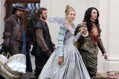 """Did anyone else ever notice that Aramis is holding the dauphin? >> On a wider shot, Marguerite is walking behind him. Of course he would relieve her of the Dauphin because he's supposed to be """"very, very fond"""" of her and he would love to help her. What a very thoughtful (father) lover ;)"""