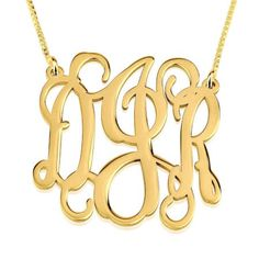 24K Gold Plated Curly Split Chain Monogram Necklace