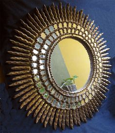 Antique Sunburst Colonial Hand Carved Gilt Wood Mirror 19th