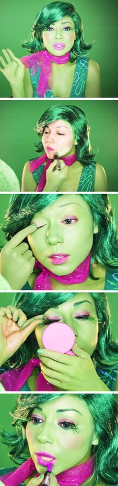 Inside Out Disgust Makeup Tutorial | Click Pic for 18 Easy DIY Halloween Costumes for Women | Last Minute Halloween Costumes for Girls #Disfraces #halloween #nochedebrujas #eldiadelosmuertos # #antifaz #máscara #disfraz #gitanilla #gitanillatrend