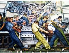 """Happy Labor Day-""""Working Hard""""-Diego Rivera Mural Detail at the Detroit Institute of Arts-Ford Motor Company Factory Diego Rivera Art, Green Jobs, Frida And Diego, Power To The People, Encaustic Painting, Gcse Art, Ancient History, Politics, Political Leaders"""