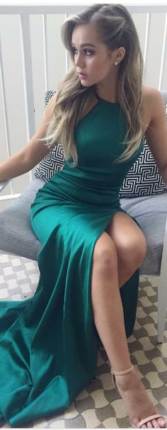 Front Split Prom Dresses,Long Prom Dresses,Green Prom Dresses,Satin Prom Dresses,Evening Dresses,Prom Dresses For Teens,Simple Cheap Prom Gowns,Pretty Party Dresses,Prom Dresses 2017 DR0048