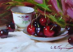 "Daily Paintworks - ""Teacup and Cherries"" by Elena Katsyura Tea Cup Art, Tea Cups, Hyper Realistic Paintings, Still Life Flowers, Fruit Painting, Painting Still Life, Fine Art Gallery, Painting Inspiration, Art For Sale"