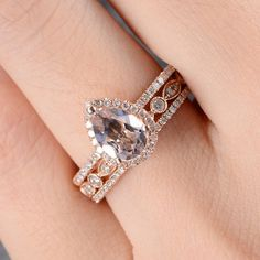Limited Time Sale: Huge 3 Carat Pear cut Morganite and Diamond Trio Wedding Ring Set in Rose Gold Pear Cut Engagement Rings, Engagement Ring Prices, Morganite Engagement, Unique Wedding Bands, Diamond Wedding Rings, Wedding Ring Bands, Wedding Ideas, Bridal Ring Sets, Bridal Rings